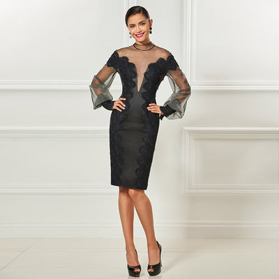 PP68 Black Tulle Appliques Cocktail Dress