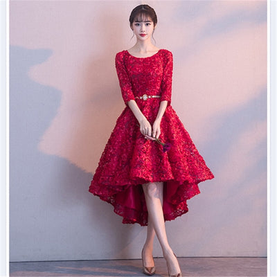 BH56 Half Sleeves Floral Bridesmaid Dress