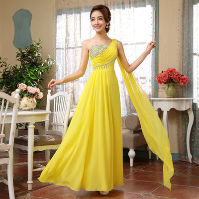 BH03 One Shoulder Crystals Beaded Bridesmaid Dresses (10 Colors)