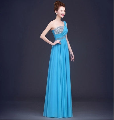 One Shoulder Crystals Beaded Bridesmaid Dresses (10 Colors)