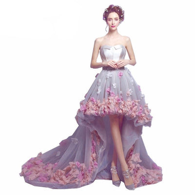 BH51 Strapless 3D Flowers Beaded Hi Low Homecoming Dresses(3 Colors)