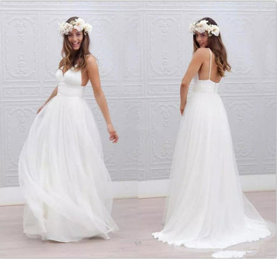 CW06 Cheap Plus Size Boho Beach Wedding Dress
