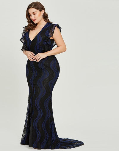 PP66 Plus Size Dark royal blue Prom Dress