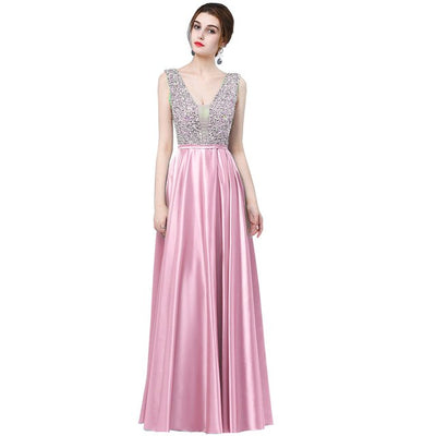 Plus size Satin Beaded Prom Dress