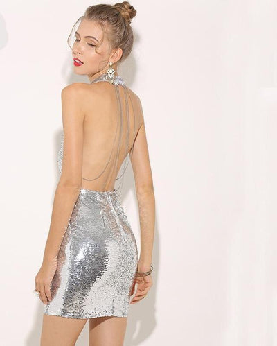 MX61 Silver V-neck Backless Chain Sequin  Party Dress