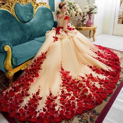 CG05 Luxury Flowers and Lace Ball Gown Wedding Dress