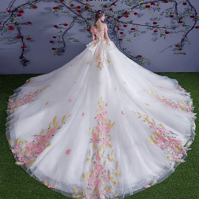 CG06 Flowers Lace Wedding Dresses