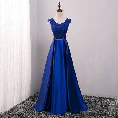 PP01 Elegant Beaded Satin Evening Dresses (7 Colors)