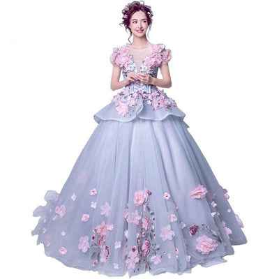 CG03 Purple Floral Quinceanera dresses
