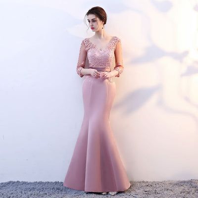 BH144 Long sleeve V neck mermaid Bridesmaid Dresses (7 Colors)