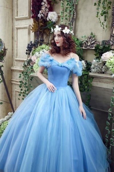 CG67 Light Blue Off Shoulder With Butterfly  Quinceanera Dress