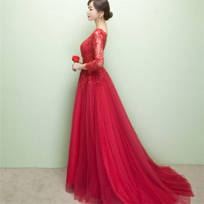 BH43 Elegant Lace Backless Bridesmaid Dresses (3 Colors)