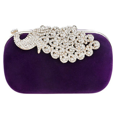 CB54 Peacock Rhinestones Party clutch Bags (Black/Red/Purple)