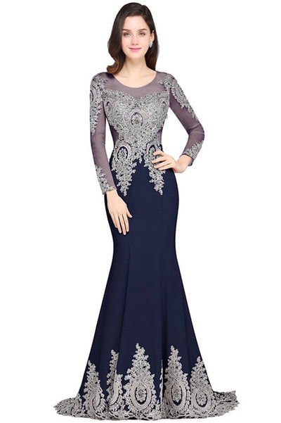 PP190 Long Sleeve  Sheer Back Silver Beaded Evening Dresses (4 Colors)