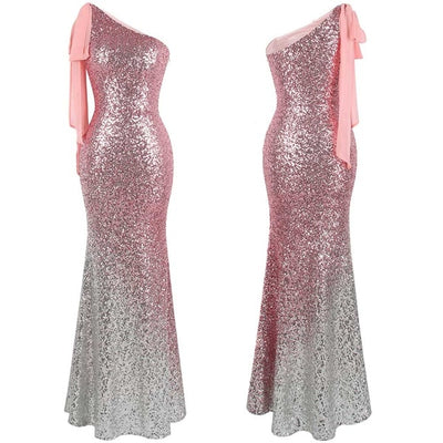 PP42 One Shoulder Sequin Gradient Evening Dresses(6 Color)