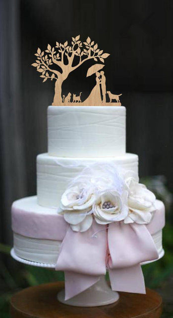 Bride and Groom  Silhouette Wedding Cake Topper (6 Styles)