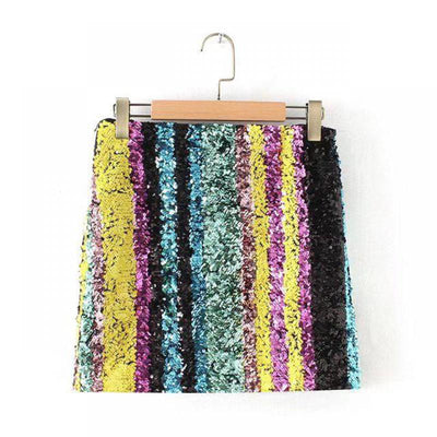 CK14 Sparkling Multicolored  Sequin Mini Skirt