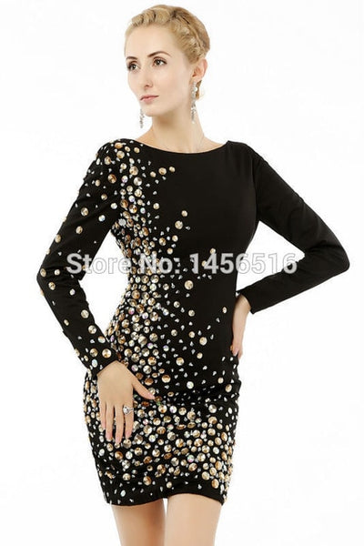 PP50 Black Sleeve Beaded Party Dress