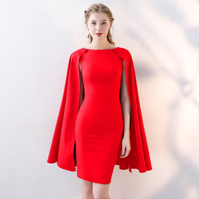 PP70 Full Cap Sleeve Cloak Cocktail Dresses(Red/Black)