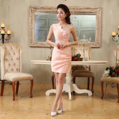 PP10 One Shoulder Mini Cocktail Dresses( 10 Colors)