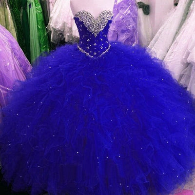 Plus size Strapless Crystals beaded Ruffles Quinceanera Dresses (4 Colors)