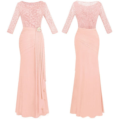 PP41 Half Sleeve Sequin See Through Evening Dress