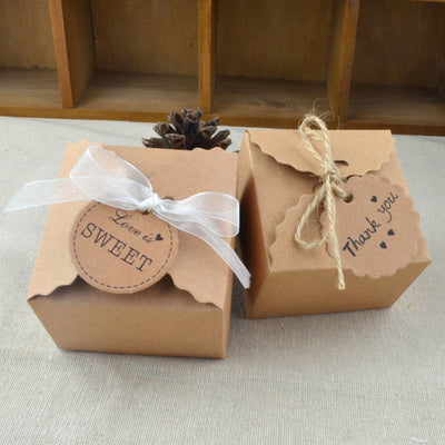Vintage Retro Mini Kraft Paper Box Wedding Gift (10 Pcs)