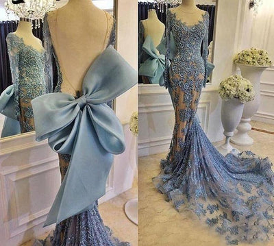 LG42 Evening Gowns Long Sleeves Backless with Big Bow