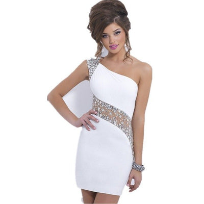 BH101White one shoulder Homecoming Dress