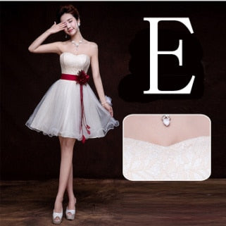 BH62: 6 styles champagne Tulle with belt Bridesmaid dresses