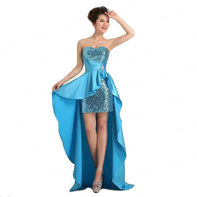 BH11 Short Front Long Back Satin Homecoming Dresses (7 Colors)