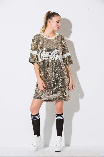 TJ41 Hip Hop Sequined Long T-shirt(5 Colors)