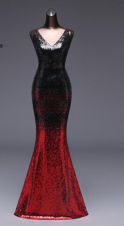 PP55 Luxury Black and Red Sequin Evening Gowns
