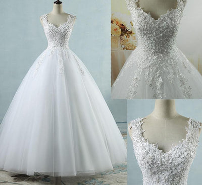 CW30 Plus Size Spaghetti Straps lace pearl Bridal Dress