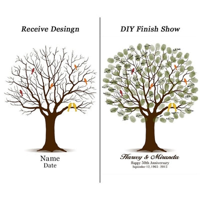 Signature Wedding Guest Book :Fingerprint Tree Painting(30 Styles)
