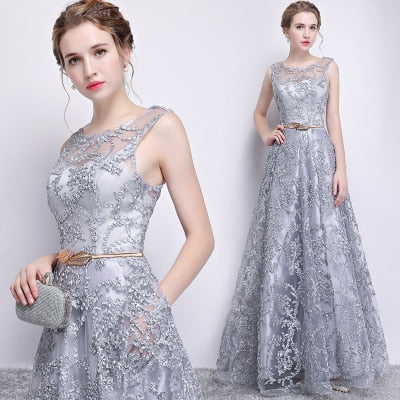 PP31 Elegant Lace Long Evening Dresses(3Colors)