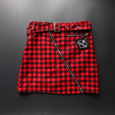 CK04 Harajuku Punk Rock Mini Skirt (Red/Black)