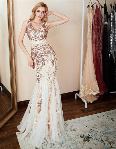 PP53 Gold Sequin mermaid Evening Dress