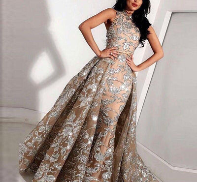Plus size Arabic champagne high neck Evening Gown with overskirt
