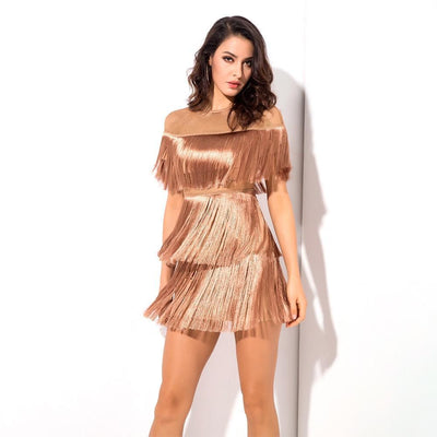 MX107 Mesh tassel Fringe Party Dresses(3 Colors)