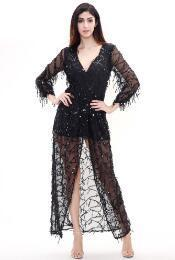 MX117 Long sleeve Sequined Fringed V-Neck Long Dress