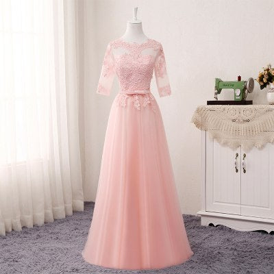 BH27 Lace long Bridesmaid Dresses (Pink/Grey/Champagne )