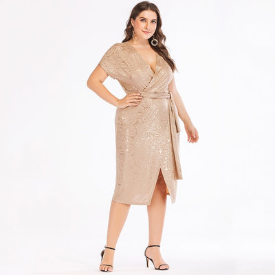 MX90 Plus Size Cross  Deep V Neck Dress