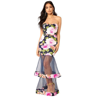 MX60 Floral Print Strapless Bodycon Maxi  Dresses