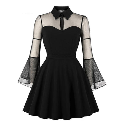 MX208 Plus Size Gothic Mesh See-Through Dresses