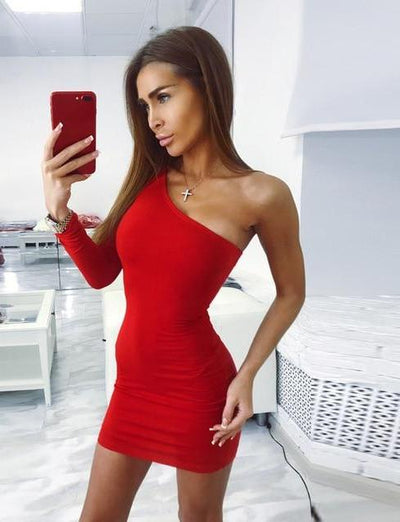 MX52 Sexy One shoulder Bodycon Dress (Red/Black)