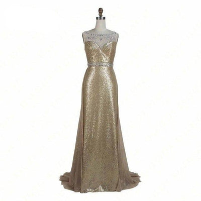 Sexy back crystal beaded sequin Prom Dresses (5 Colors)