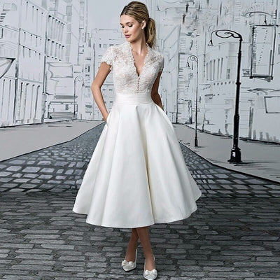 SS22 Appliques Lace Knee Length Short Bridal Gowns