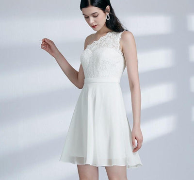 BH66 One Shoulder Lace Homecoming Dress