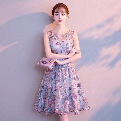BH73 Plus Size Embroidered Flower Homecoming Dress